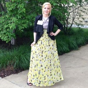 Long yellow and gray floral dress